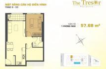 Bán căn 1PN – 58m2 The Tresor, giá 2,9 tỷ view Bến Vân Đồn. LH 0906692139