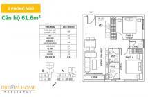 CH Dream Home tháng 6/2017 giao nhà 61.7m2, 2PN, 2WC, giá 1.2 tỷ có VAT, BIDV cho vay 70%