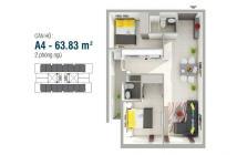 Bán căn hộ 8x Rainbow-Hưng Thịnh, 64m2, 2pn, 2wc, giá 960tr. LH: 0902.456.404