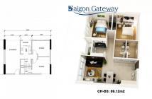 Căn hộ Sài Gòn Gateway, Quận 9,Giá 1.5 tỷ có VAT 2pn/2wc. Lh: 0938 128 235