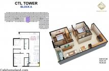 Căn hộ 69m2 2 phòng ngủ 2 toilet, CTL Tower Tham Lương. Giá bán 1.85 bao toàn bộ VAT